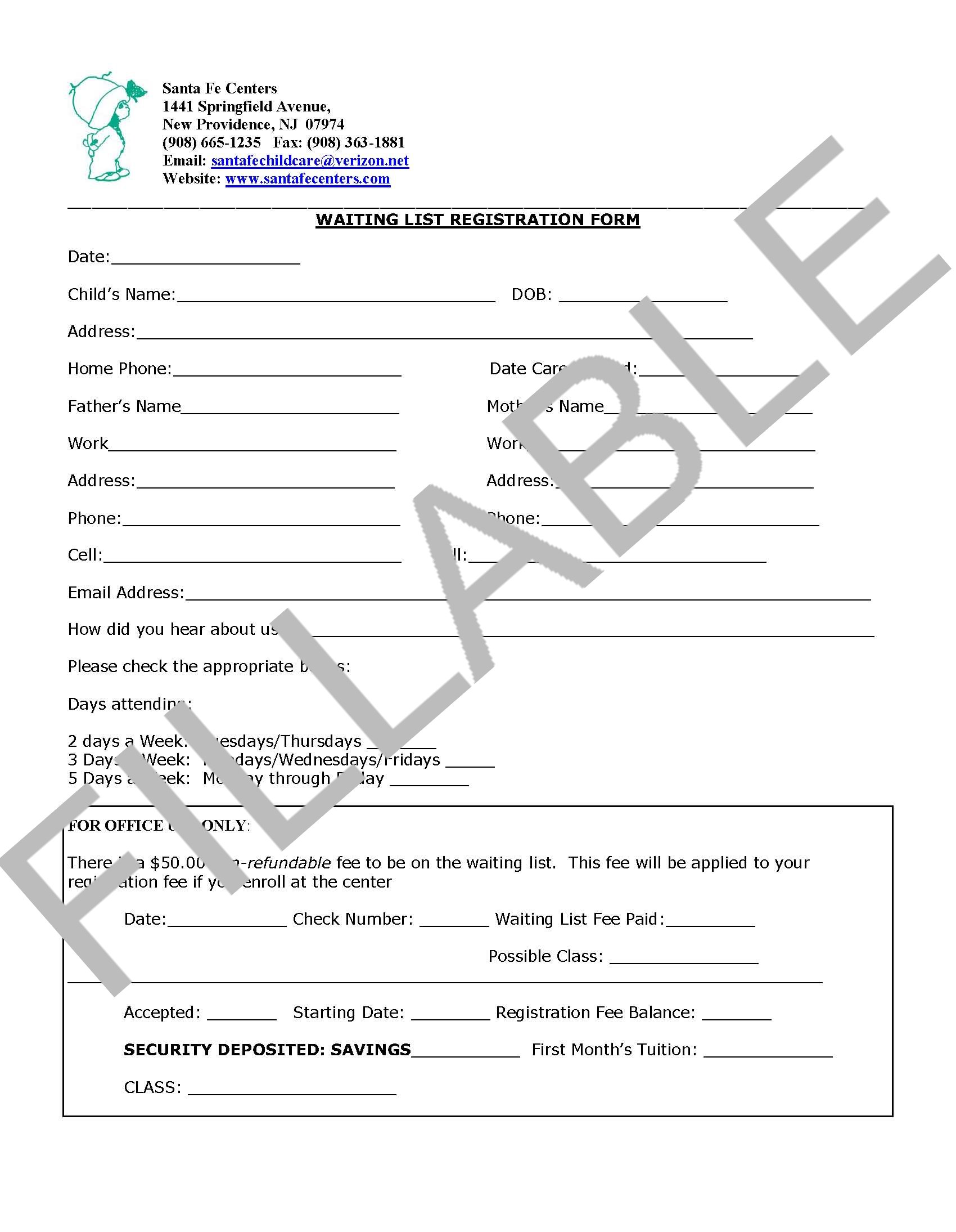 Waitlist Registration Form-FILLABLE