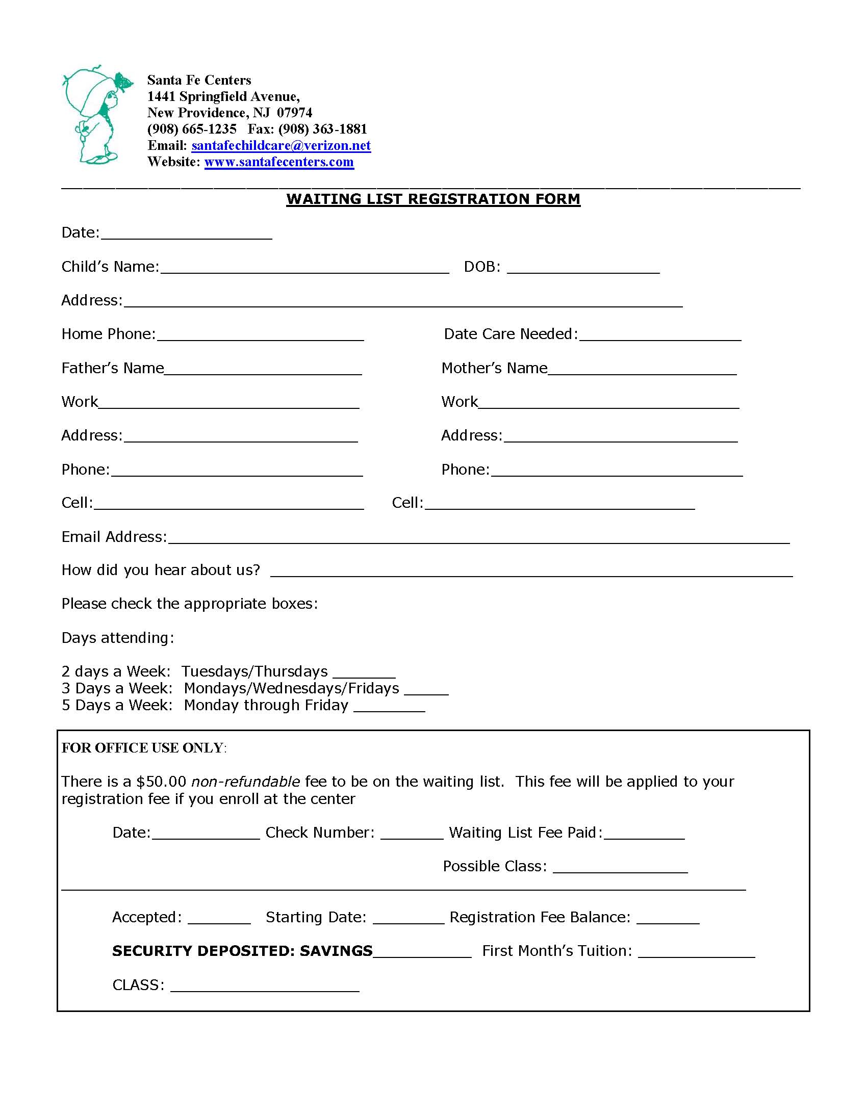 Waitlist Registration Form